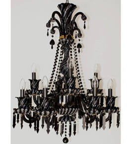 Black Or Red 2 Tier Crystal Chandelier