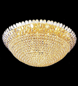Surface mounted 52 light bowl crystal chandelier