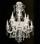 Elegant Crystal Drop Murano Glass 12 Light Hale Chandelier.