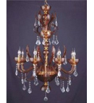 Crystal Drop Murano Glass 8 Light Rustic Style Chandelier.