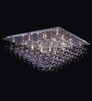 28 Light Crystal Drop Flush Fitting Chandelier