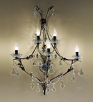 Dark Framed Settecento Design Wall Light with Leaf Details