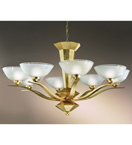 Piramide Design Chandelier In a Gold Leaf Finish & Blown Glass