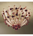 Accuracy Design flush chandelier that has rose details.