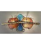 Decó Design metal wall light with blue & gold murano glass details