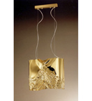 Forme Design gold chandelier that has drill, flame cut & glass details