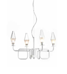 Fifty Design Worked Metal and Prism Glass 4 Light Chandelier