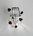 Paris Design Chrome Framed Wall Light with Black Rose Details