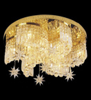 Surface mounted 12 light swirl shaped crystal chandelier